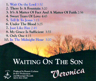Waiting On The Son - Veronica McGlothlin - Back Cover